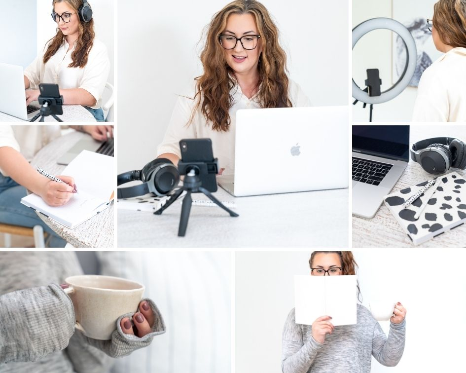 A collage of images of a woman working in a home office